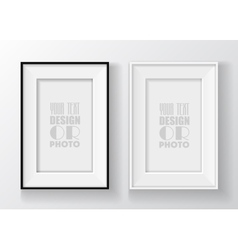 Realistic black and white picture frame vector image vector image