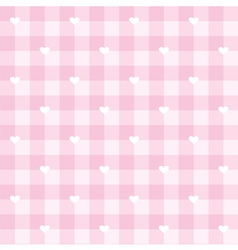 Tile pink plaid pattern with white hearts vector image vector image