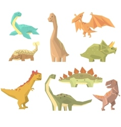Dinosaurs of jurassic period set of prehistoric vector