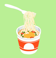 instant noodle cup add egg vector image vector image