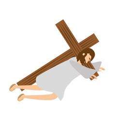 jesus christ second fall via crucis station vector image