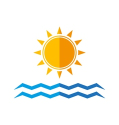 sun and sea waves vector image
