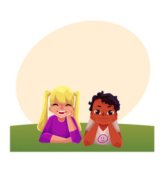 two kids black african boy caucasian girl lying vector image vector image
