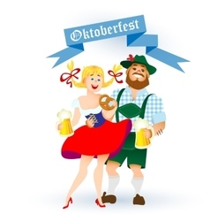 bavarian man and woman with a big glass of beer vector image