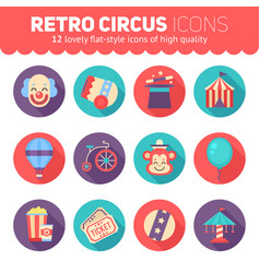 retro circus icons set for web and graphic design vector image vector image