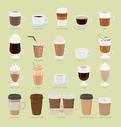 set of coffee types and packages coffee menu vector image vector image