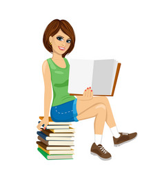 student girl sitting on stack of books vector image