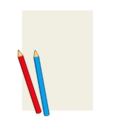 Two Colored Pencils on a Blank Paper vector image