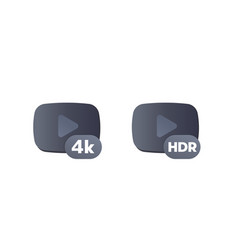 4k and hdr video content icons vector image
