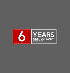 6 years anniversary in square with white and red vector