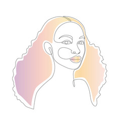 african woman face line drawing minimalistic vector image