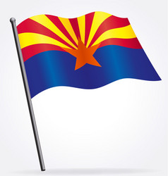 Arizona az state flag flying on flagpole vector