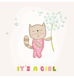 Baby girl cat holding flower - shower vector