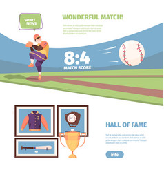 baseball game banner exciting national game vector image