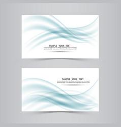 blue soft line wave banner set vector image