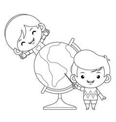Boy pointing globe coloring book vector