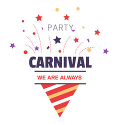 Carnival party isolated icon birthday cone hat and vector