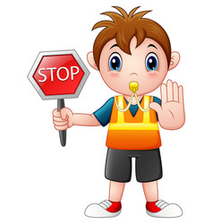 Cartoon boy holding a stop sign vector