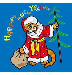 Cat Santa Klaus vector