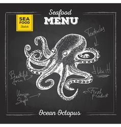Chalk drawing sketch set seafood ocopus vector