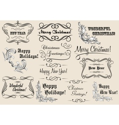 Christmas and New Year calligraphic headlines vector