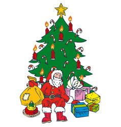 christmastree and santa vector image