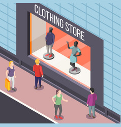 Clothing store isometric background vector