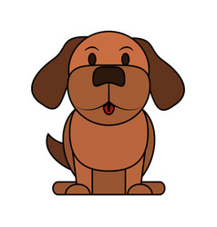 Color image cartoon front view dog animal sitting vector
