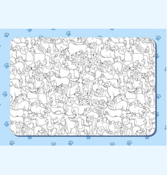 coloring book with cute cartoon dogs different vector image