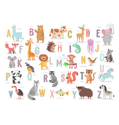 Cute animals alphabet for kids education funny vector
