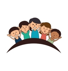 cute kids group icon vector image