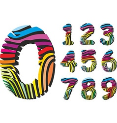 Digits with color background zebra skin vector