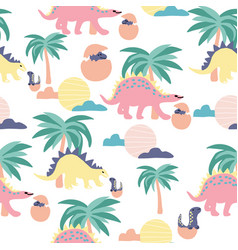 Dinosaurs and palm trees in a repeated pattern vector