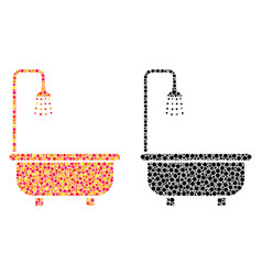 Dotted shower bath mosaic icons vector