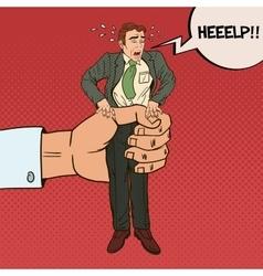 Employer big hand squeezes pop art office worker vector