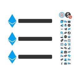 Ethereum list icon with free bonus vector