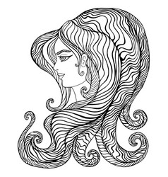 fantastic surreal girl with wave hair adult vector image