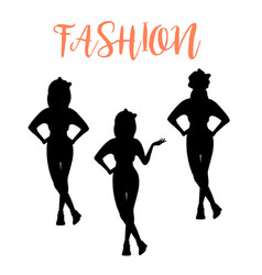 fashion woman silhouette in different poses vector image