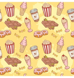 Fastfood sweets delicious seamless pattern vector