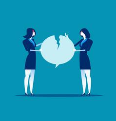 fighting over speech bubble quarrel between vector image