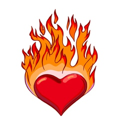 flaming hearts vector image