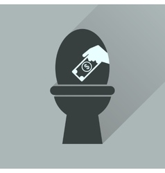 Flat icon with long shadow toilet money vector