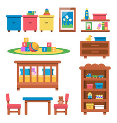 flat of toys and furniture vector image