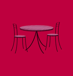 Flat shading style icon chairs and table vector