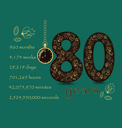 floral card with number eighty and pocket watch vector image