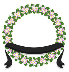 flower laurel wreath frame-ribbon vector image