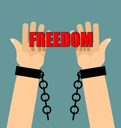 Freedom Hands in shackles Broken chain Broken vector image