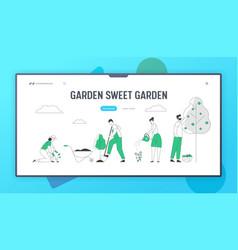 Gardening hobby website landing page gardeners vector