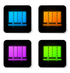 glowing neon server data web hosting icon vector image