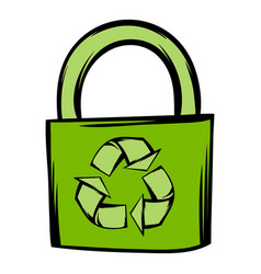 Green eco bag icon cartoon vector